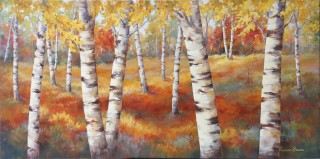 Birches in Fall III 30x60
