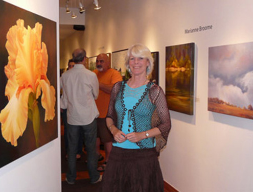 Marianne at her Show at Art Square Gallery